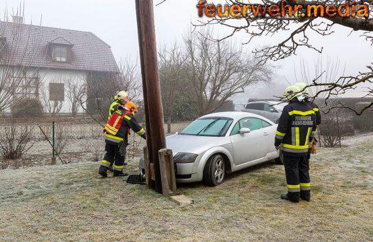 Pkw prallte gegen einen in einem Garten stehenden Strommast