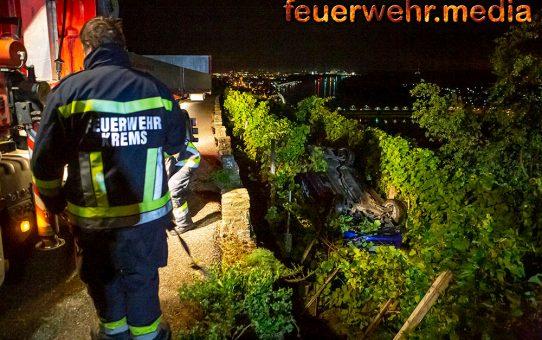 Pkw stürzt vom Pfaffenbergweg in einen Weingarten