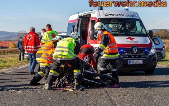 Unfall auf der B34 – Motorrad kollidiert mit einem Pkw