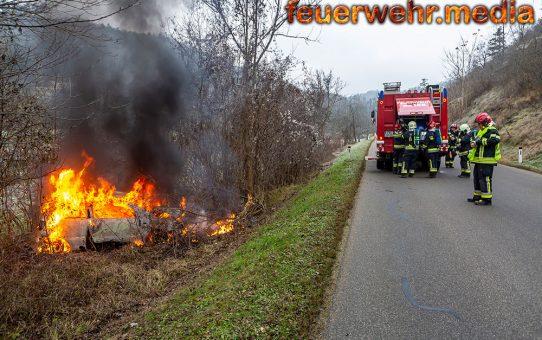 Pkw prallt gegen einen Baum und beginnt zu brennen