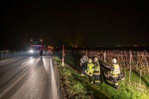 Reh ausgewichen - Pkw überschlägt sich und landet in einem Weingarten