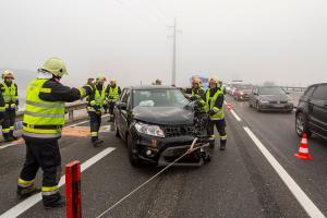 Meherer Verletzte bei heftigem Auffahrunfall auf der S5