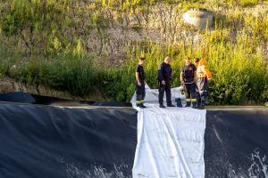 Reh von der Kremser Feuerwehr aus einem Wasserbecken gerettet
